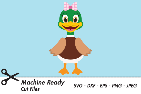 Download Free Cute Girl Duck Graphic By Captaincreative Creative Fabrica for Cricut Explore, Silhouette and other cutting machines.