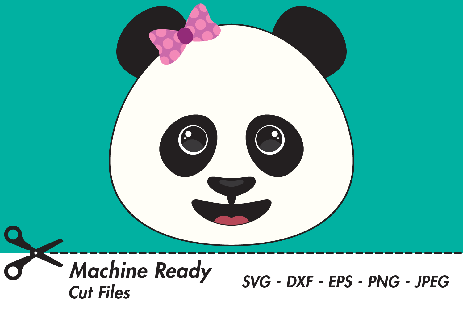 Download Free Cute Girl Panda Bear Face Graphic By Captaincreative Creative for Cricut Explore, Silhouette and other cutting machines.