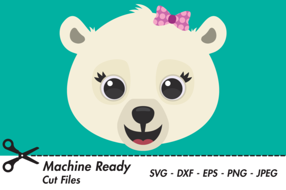 Download Free Cute Girl Polar Bear Face Graphic By Captaincreative Creative for Cricut Explore, Silhouette and other cutting machines.