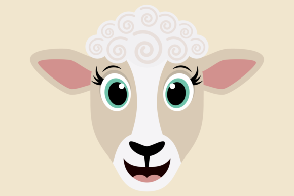 Download Free Cute Girl Sheep Face Graphic By Captaincreative Creative Fabrica for Cricut Explore, Silhouette and other cutting machines.