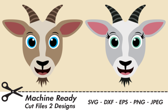 Download Free Cute Goat Faces Graphic By Captaincreative Creative Fabrica for Cricut Explore, Silhouette and other cutting machines.