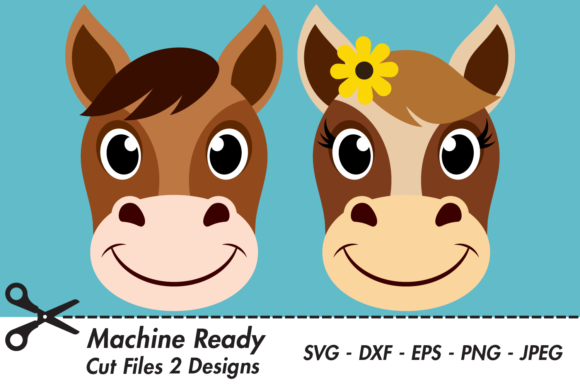 Download Free Cute Horse Faces Graphic By Captaincreative Creative Fabrica for Cricut Explore, Silhouette and other cutting machines.
