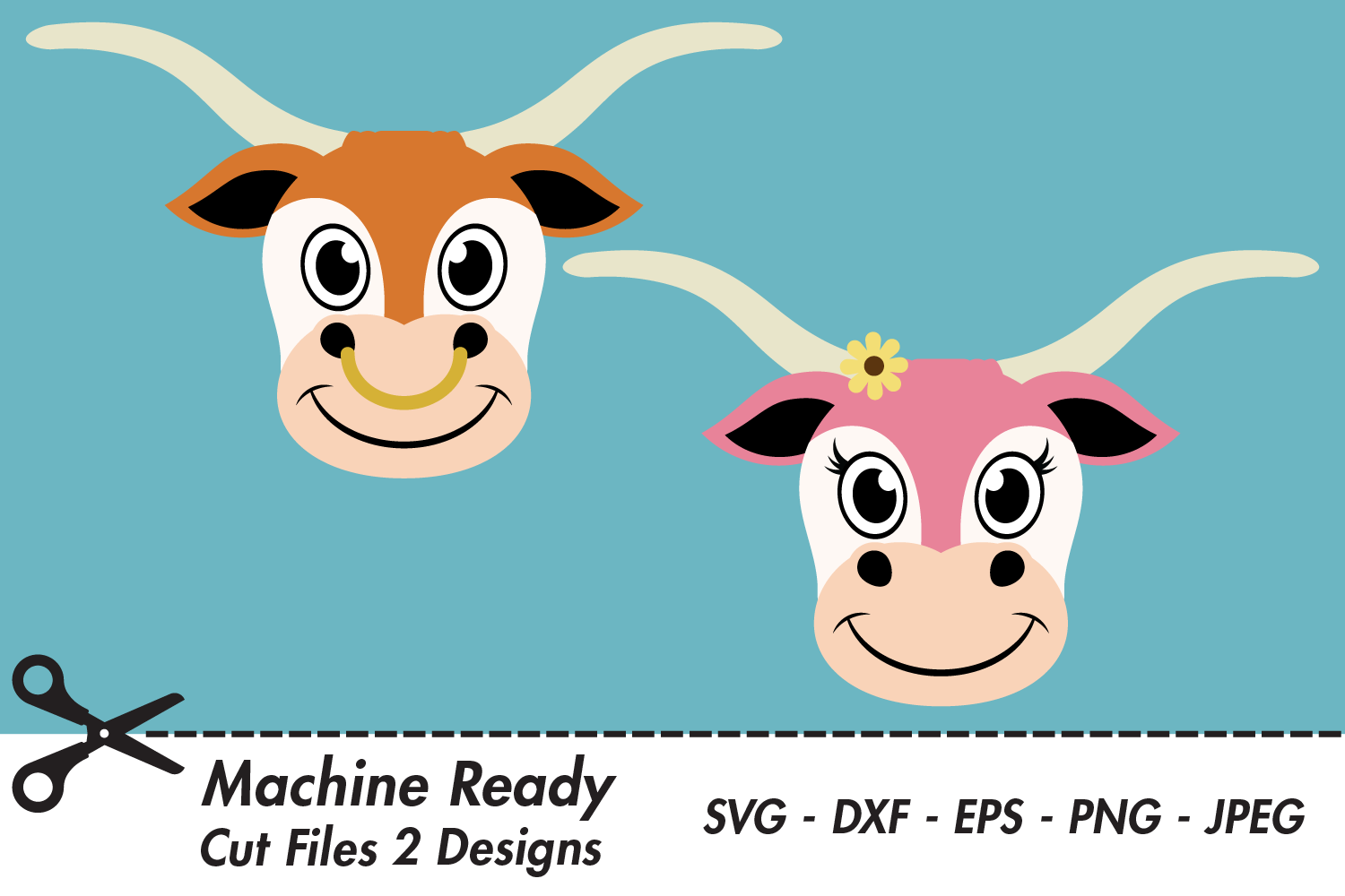 Download Free Cute Longhorn Faces Graphic By Captaincreative Creative Fabrica for Cricut Explore, Silhouette and other cutting machines.