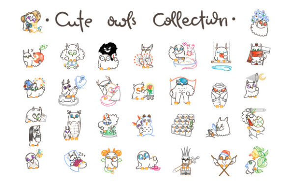 Download Free Cute Owls Collection Graphic By Drekhann Creative Fabrica for Cricut Explore, Silhouette and other cutting machines.