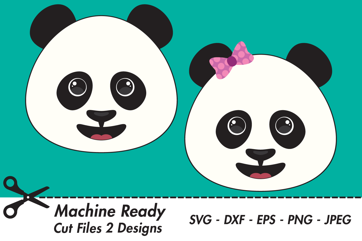 Download Free Cute Panda Bear Faces Graphic By Captaincreative Creative Fabrica for Cricut Explore, Silhouette and other cutting machines.