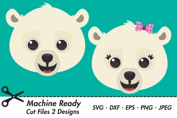 Download Free Cute Polar Bear Faces Graphic By Captaincreative Creative Fabrica for Cricut Explore, Silhouette and other cutting machines.
