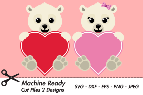 Download Free Cute Polar Bear Valentine Hearts Graphic By Captaincreative for Cricut Explore, Silhouette and other cutting machines.