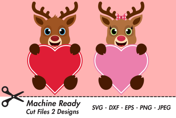 Download Free Cute Reindeer Valentine Hearts Graphic By Captaincreative for Cricut Explore, Silhouette and other cutting machines.