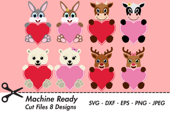 Download Free Cute Valentine Animal Heart Bundle Graphic By Captaincreative for Cricut Explore, Silhouette and other cutting machines.