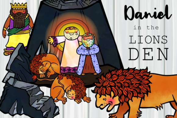 Print on Demand: Daniel in the Lions Den Cartoon Clipart Graphic Illustrations By Prawny