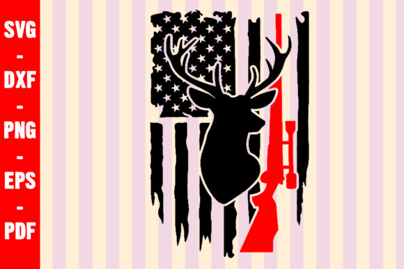 Deer Hunt Distress USA Flag Graphic Crafts By creativeshohor