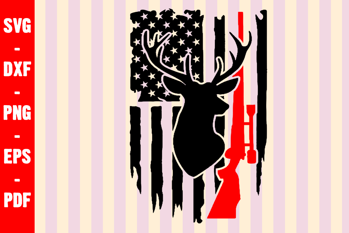 Download Free Deer Hunt Distress Usa Flag Graphic By Creativeshohor Creative for Cricut Explore, Silhouette and other cutting machines.