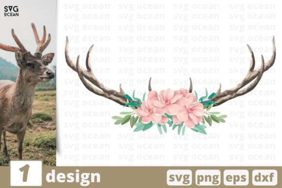 Download Free Deer Horns Graphic By Svgocean Creative Fabrica for Cricut Explore, Silhouette and other cutting machines.