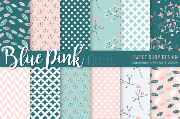 Digital Paper Blue Pink Floral Graphic Patterns By Sweet Shop Design