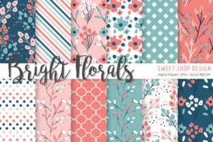 Digital Paper Bright Florals Graphic Patterns By Sweet Shop Design