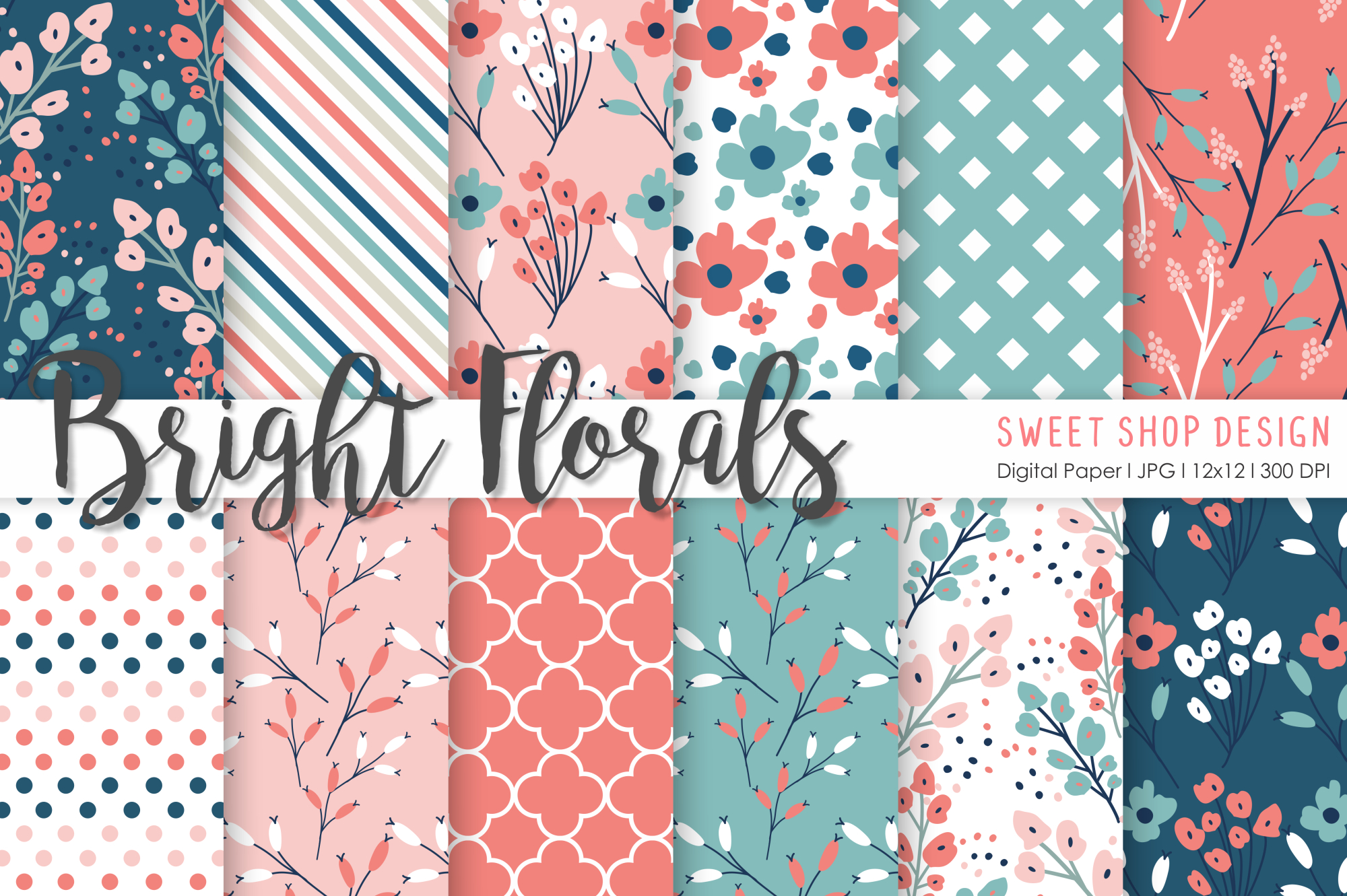 Download Free Digital Paper Bright Florals Graphic By Sweet Shop Design for Cricut Explore, Silhouette and other cutting machines.