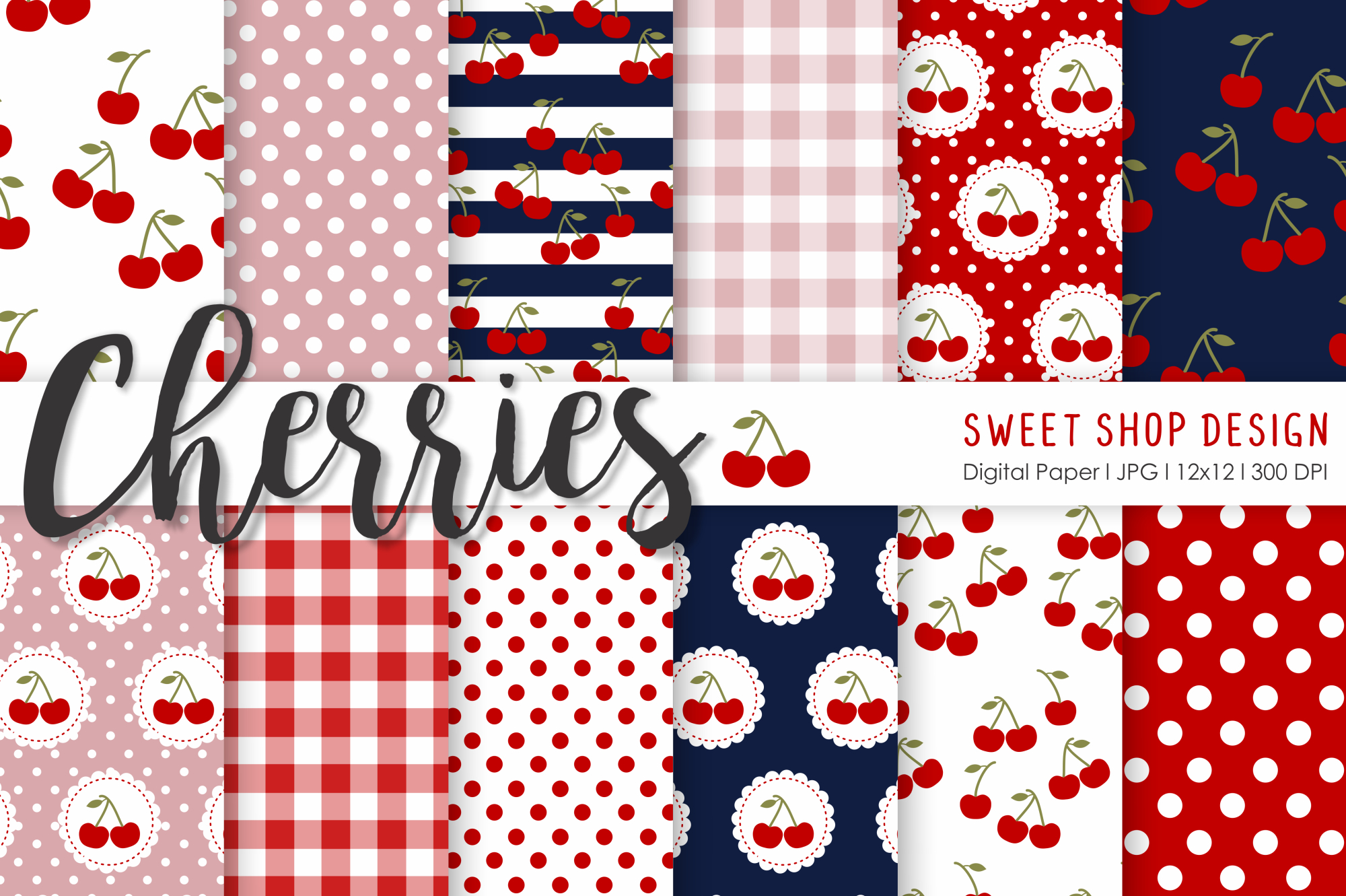 Download Free Digital Paper Cherries Graphic By Sweet Shop Design Creative for Cricut Explore, Silhouette and other cutting machines.