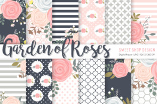 Digital Paper Garden of Roses Graphic Patterns By Sweet Shop Design