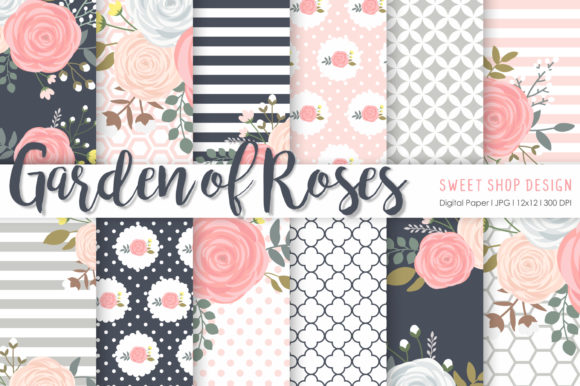 Digital Paper Garden of Roses Grafik Muster von Sweet Shop Design