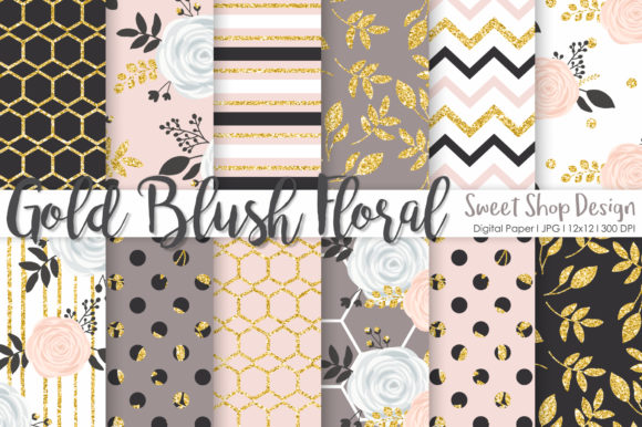 Digital Paper Gold Blush Floral Graphic Patterns By Sweet Shop Design
