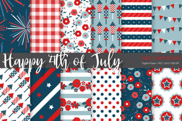 Digital Paper Happy 4th of July Graphic Patterns By Sweet Shop Design