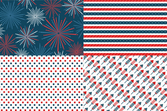 Digital Paper Happy 4th of July Graphic Patterns By Sweet Shop Design - Image 4