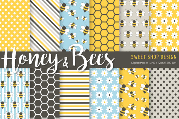 Digital Paper Honey & Bees Graphic Patterns By Sweet Shop Design