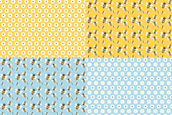 Digital Paper Honey & Bees Graphic Patterns By Sweet Shop Design - Image 2