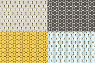 Digital Paper Honey & Bees Graphic Patterns By Sweet Shop Design 3