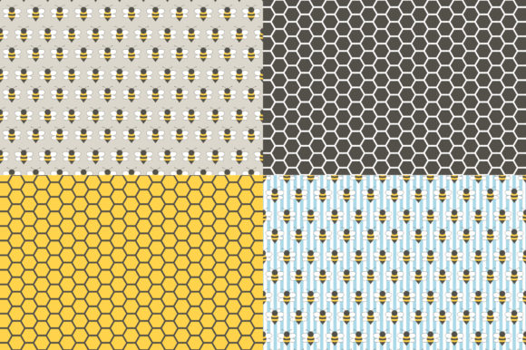 Digital Paper Honey & Bees Graphic Patterns By Sweet Shop Design - Image 3