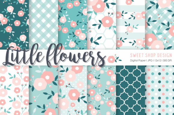 Digital Paper Little Flowers Graphic Patterns By Sweet Shop Design