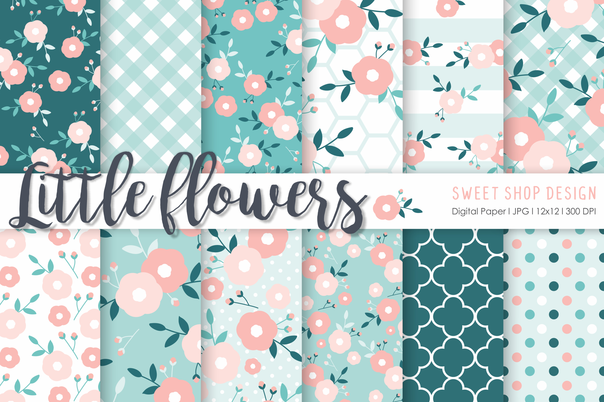 Download Free Digital Paper Little Flowers Graphic By Sweet Shop Design for Cricut Explore, Silhouette and other cutting machines.