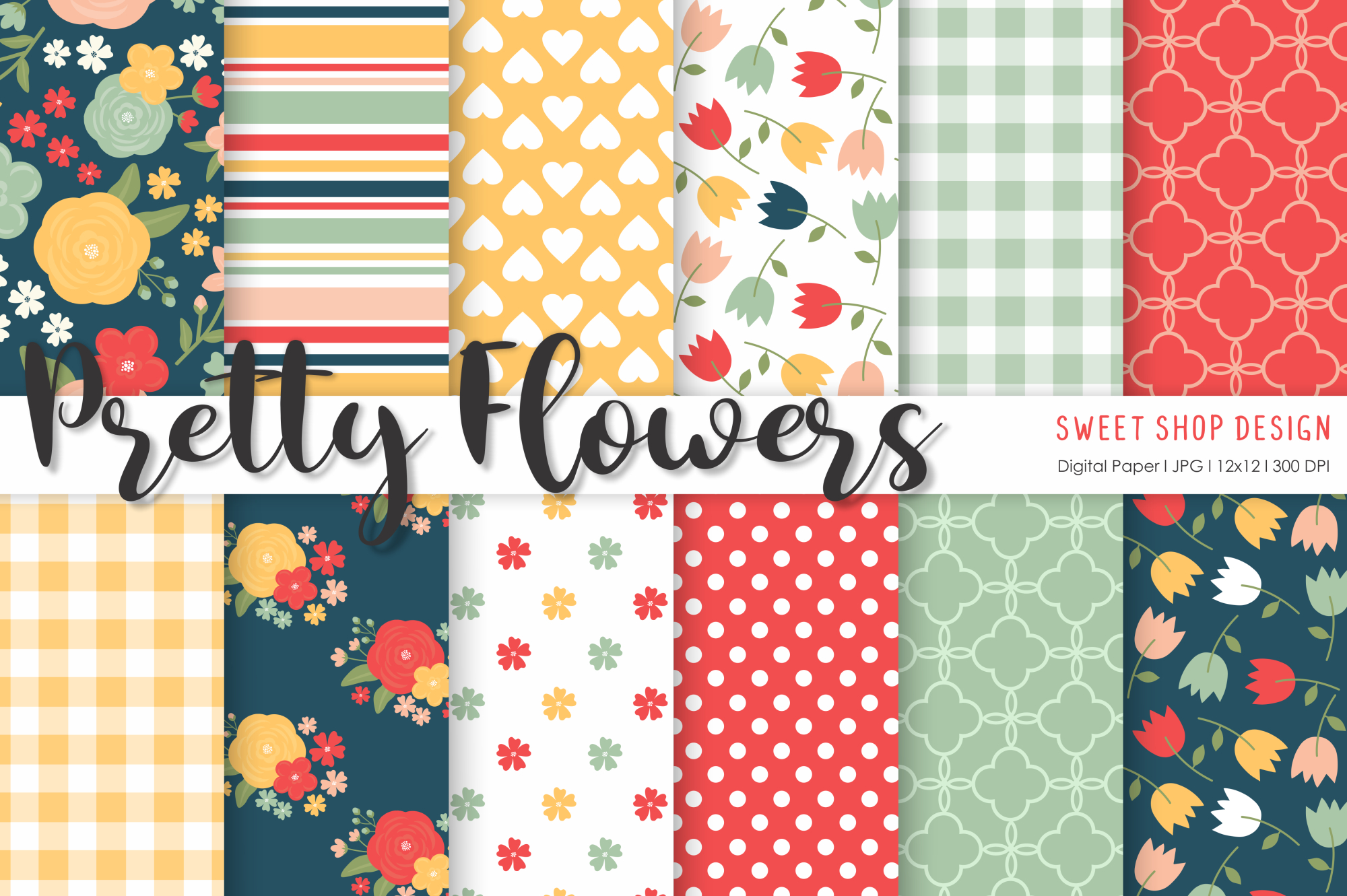 Download Free Digital Paper Pretty Flowers Graphic By Sweet Shop Design for Cricut Explore, Silhouette and other cutting machines.