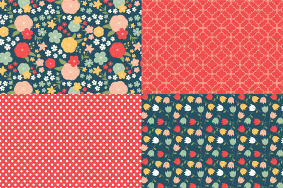 Digital Paper Pretty Flowers Graphic Patterns By Sweet Shop Design - Image 2