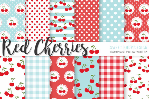 Digital Paper Red Cherries Graphic Patterns By Sweet Shop Design