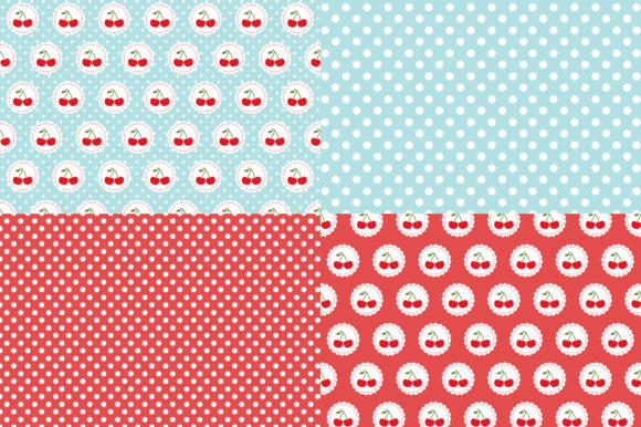 Digital Paper Red Cherries Graphic Patterns By Sweet Shop Design - Image 2