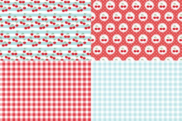 Digital Paper Red Cherries Graphic Patterns By Sweet Shop Design - Image 3