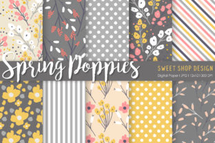 Digital Paper Spring Poppies Graphic Patterns By Sweet Shop Design