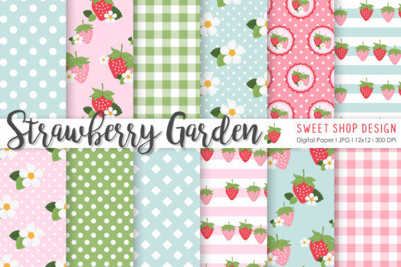 Digital Paper Strawberry Garden Graphic Patterns By Sweet Shop Design
