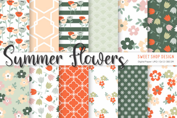 Digital Paper Summer Flowers Graphic Patterns By Sweet Shop Design