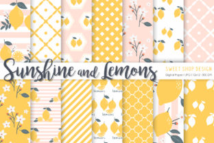 Digital Paper Sunshine and Lemons Graphic Patterns By Sweet Shop Design