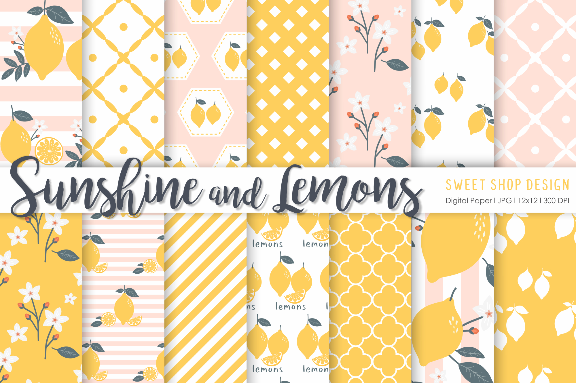 Download Free Digital Paper Sunshine And Lemons Graphic By Sweet Shop Design for Cricut Explore, Silhouette and other cutting machines.