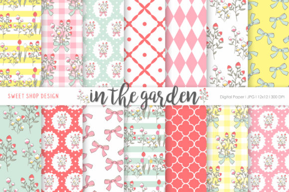 Digital Paper in the Garden Graphic Patterns By Sweet Shop Design