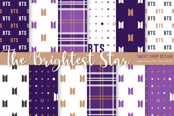 Digital Paper the Brightest Star Graphic Patterns By Sweet Shop Design