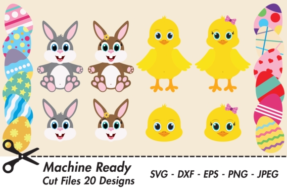 Download Free Easter Bunny Rabbit And Chick Bundle Graphic By Captaincreative for Cricut Explore, Silhouette and other cutting machines.
