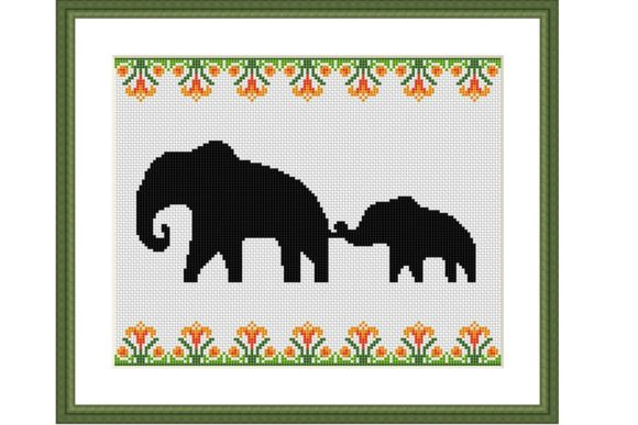 Elephant Family Cross Stitch Pattern Graphic Cross Stitch Patterns By Tango Stitch