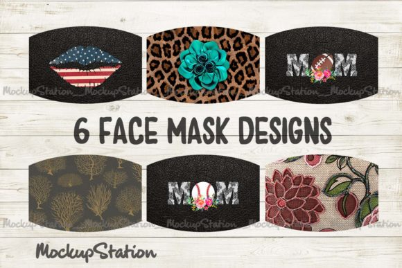 Print on Demand: Face Mask Designs Bundle Grafik Hintegründe von Mockup Station