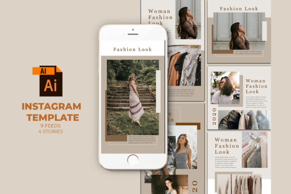 Fashion Instagram Templates Vector Graphic Web Elements By qohhaarqhaz
