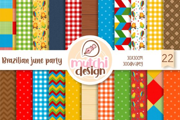 Print on Demand: Festa Junina Digital Papers Graphic Backgrounds By Mutchi Design