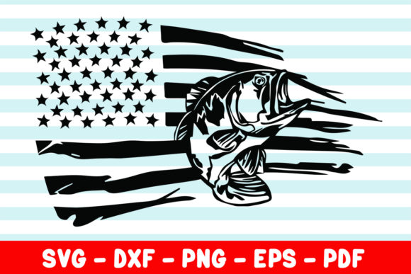 Print on Demand: Fishing Distressed American USA Flag Graphic Crafts By creativeshohor